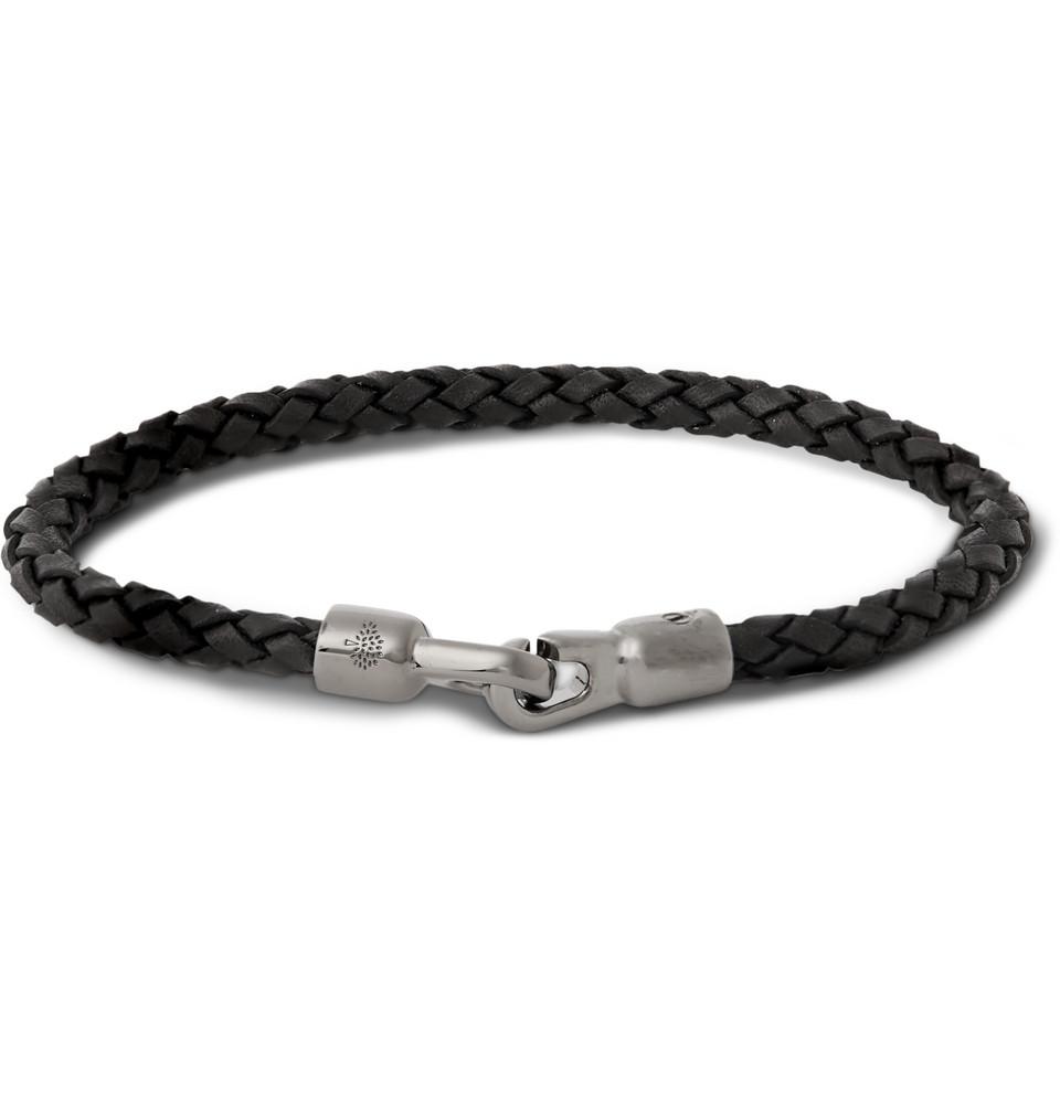 bracelet cuir tressé Mulberry