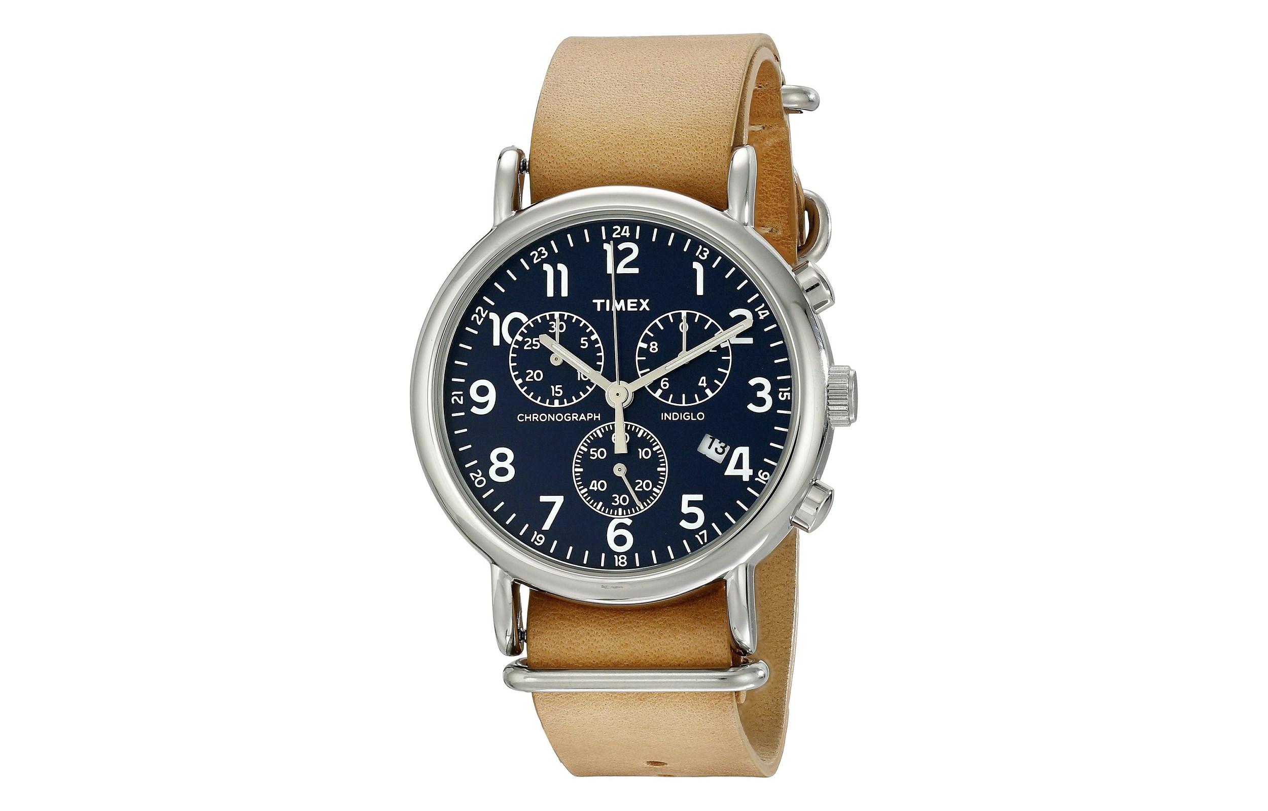 timex weekender chrono cuir beige